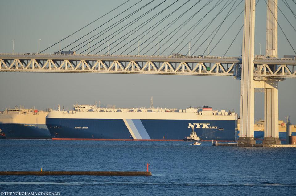 ベイブリッジと自動車専用船-THE YOKOHAMA STANDARD