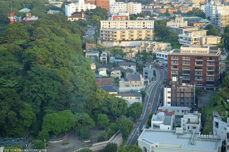 マリンタワーから望む谷戸坂